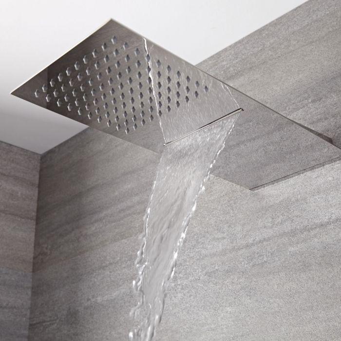 Alcachofa de Ducha Rectangular Extraplana de Doble Función 500mm x 200mm Efecto Lluvia y Cascada
