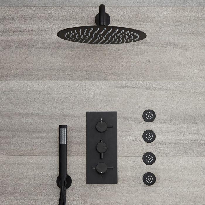 Llave de Ducha Termostática Empotrable Triple Negra con Desviador Completa con Alcachofa Redonda de 300mm,Telefonillo y Jets de Ducha - Nox