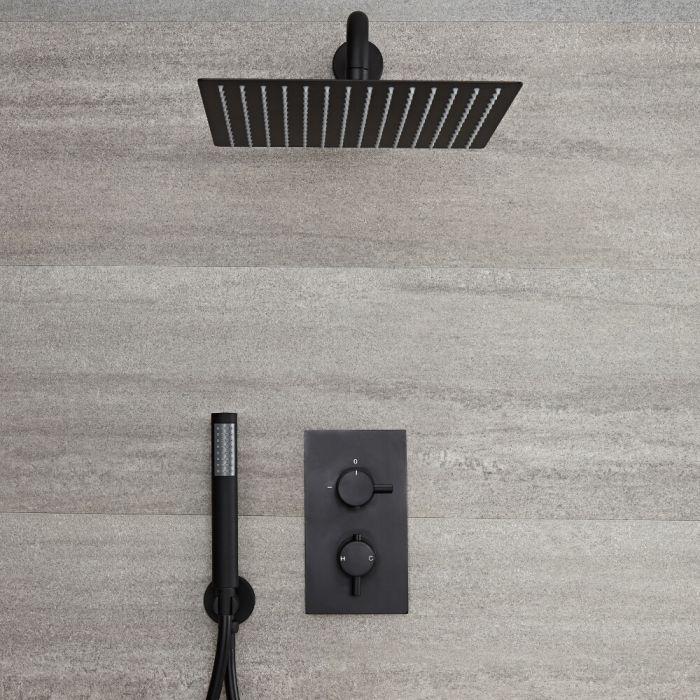 Llave de Ducha Termostática Empotrable de 2 Funciones con Desviador Negra con Alcachofa de Ducha Cuadrada de 300x300mm y Telefonillo - Nox