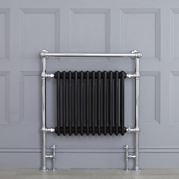 Radiador Toallero Tradicional Negro - 930mm x 790mm (Barra Superior Angular) - Avon