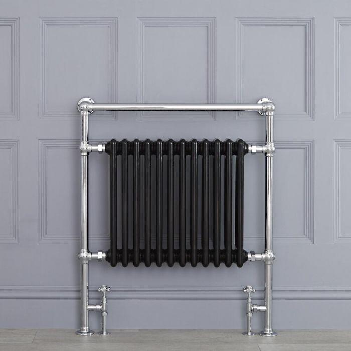 Radiador Toallero Tradicional Negro - 930mm x 790mm (con Barra Superior Plana) - Avon