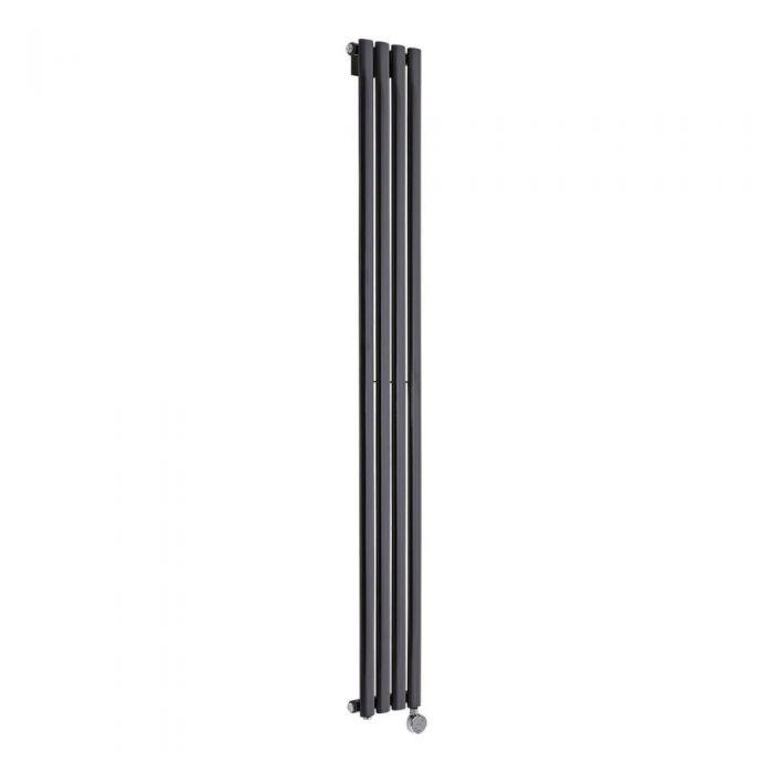 Radiador de Diseño Eléctrico Vertical - Negro Lúcido - 1780mm x 236mm x 56mm - Elemento Termostático de 800W - Revive