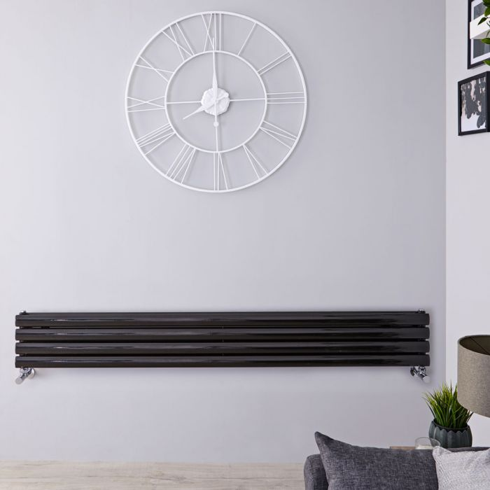 Radiador de Diseño Horizontal Doble - Negro Lúcido - 236mm x 1780mm x 78mm - 920 Vatios - Revive