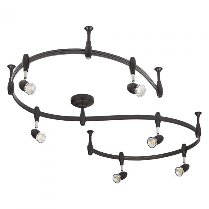 Biard Kit Completo con Rail Flexible Negro de 3m y 6 Focos LED de Carril - Forio