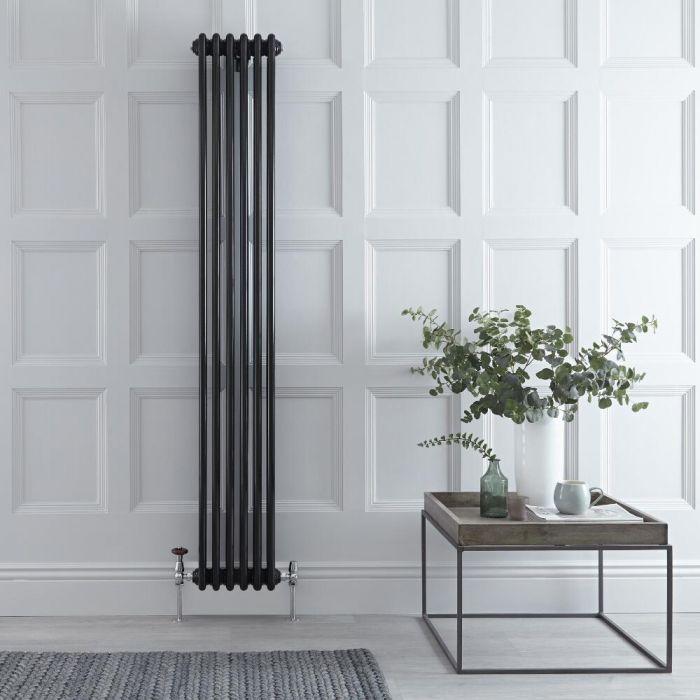 Radiador de Diseño Vertical Triple Tradicional - Negro - 1800mm x 290mm x 100mm - 1169 Vatios - Regent