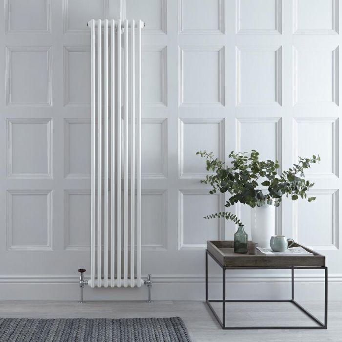 Radiador de Diseño Vertical Doble Tradicional - Blanco - 1800mm x 383mm x 68mm - 1245 Vatios - Regent