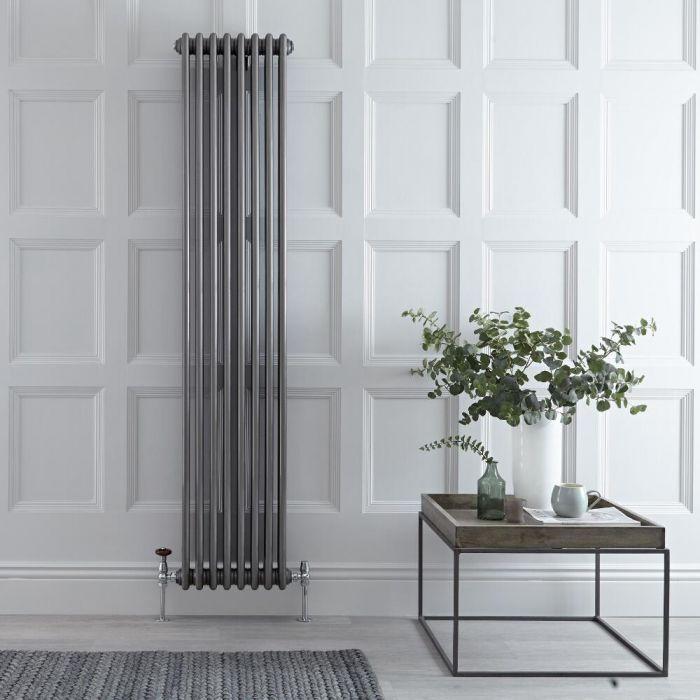 Radiador de Diseño Vertical Triple Tradicional – Acero Dulce - Lacado Metal Rudo - 1800mm x 383mm - 1558 Vatios - Windsor