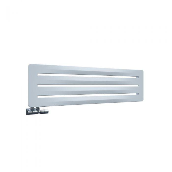 Radiador de Diseño Horizontal Con Conexión Central - Blanco - 325mm x 1200mm x 11mm - 492 Vatios - Leba