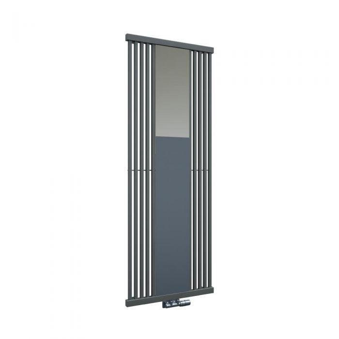 Radiador de Diseño Vertical Con Conexión Central - Con Espejo - Color Efecto Piedra - 1700mm x 640mm x 60mm - 1300 Vatios - Lublin