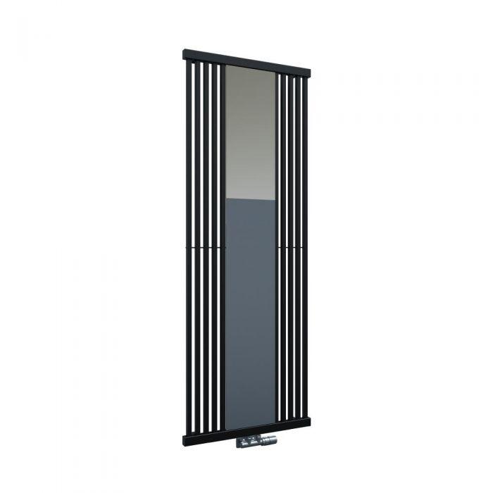 Radiador de Diseño Vertical Con Conexión Central - Con Espejo - Negro - 1700mm x 640mm x 60mm - 1172 Vatios - Lublin