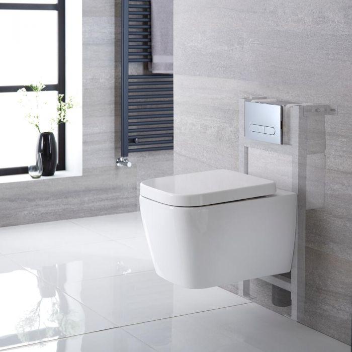 Inodoro Cuadrado Moderno Suspendido 345x350x500mm con Tapa Soft Close, Estructura Empotrable, Cisterna y Placa de Descarga – Milton