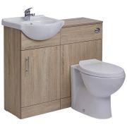 Mueble para Cuarto de Baño con Lavabo e Inodoro de Careámica Integrados y Mueble de MDF Efecto Roble 41x78x30cm