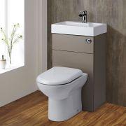 Mueble de Baño Completo con WC de Cerámica y Lavabo Integrado Color Piedra