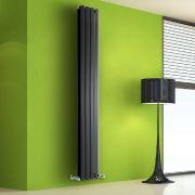 Radiador de Diseño Vertical Doble - Negro - 1780mm x 280mm x 86mm - 1079 Vatios - Rombo