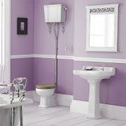 Conjunto de Baño Completo con Inodoro WC, Opción de Distintas Tapas de WC, Cisterna Alta Suspendida y Lavabo de 500mm - Retro