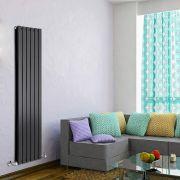Radiador de Diseño Vertical Doble - Negro Lúcido - 1600mm x 420mm x 60mm - 1322 Vatios - Delta