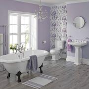 Conjunto de Baño Tradicional Completo con Lavabo, Grifería, WC con Cisterna, Tapa Blanca para el WC y Bañerra -  Carlton
