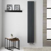Radiador de Diseño Vertical Doble con conexión Central - Aluminio - Antracita - 1800mm x 280mm x 67mm -  1119 Vatios  - Kett