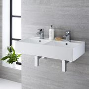 Lavabo Suspendido Rectangular Doble de Cerámica 820x420mm - Halwell