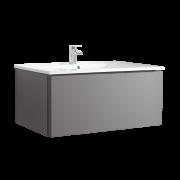 Mueble de Lavabo Mural Moderno de 1000mm Color Gris Opaco con Lavabo Integrado para Baño  - Newington