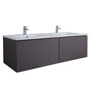 Mueble de Lavabo Mural Moderno de 1200mm Color Gris Opaco con Lavabo Doble Integrado para Baño - Newington