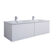 Mueble de Lavabo Mural Moderno de 1200mm Color Blanco Opaco con Lavabo Doble Integrado para Baño - Newington