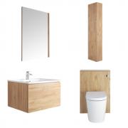Mueble de Baño de 600mm Color Roble Dorado Completo con Cisterna, Inodoro con Lavabo, Armario de Pared y Espejo Disponible con Opción LED - Newington - Golden Oak