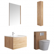 Mueble de Baño de 600mm Color Roble Dorado Completo con Cisterna, Inodoro con Lavabo, Armario de Pared y Espejo  - Newington - Golden Oak