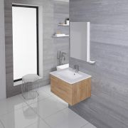 Mueble de Lavabo Mural Moderno de 600mm Color Roble Dorado con Lavabo Integrado para Baño Disponible con Opción LED  - Newington