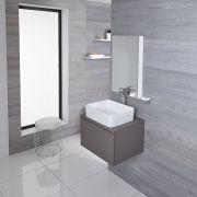 Mueble de Lavabo Moderno de 600mm de Color Gris Opaco con Lavabo de Sobre Encimera para Baño Disponible con Opción LED  - Newington