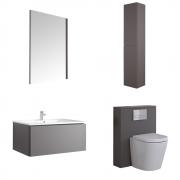 Mueble de Baño de 800mm Color Gris Opaco Completo con Cisterna, Inodoro con Lavabo, Armario de Pared y Espejo  - Newington