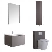 Mueble de Baño de 600mm Color Gris Opaco Completo con Cisterna, Inodoro con Lavabo, Armario de Pared y Espejo  - Newington
