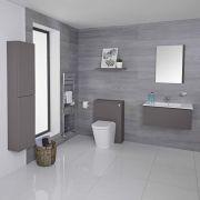 Mueble de Baño de 800mm Color Gris Opaco Completo con Cisterna, Inodoro con Lavabo, Armario de Pared y Espejo Disponible con Opción LED  - Newington
