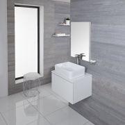 Mueble de Lavabo Moderno de 600mm de Color Blanco Opaco con Lavabo de Sobre Encimera para Baño Disponible con Opción LED  - Newington