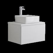 Mueble de Lavabo Moderno de 600mm de Color Blanco Opaco con Lavabo de Sobre Encimera para Baño  - Newington