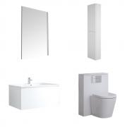 Mueble de Baño de 800mm Color Blanco Opaco Completo con Cisterna, Inodoro con Lavabo, Armario de Pared y Espejo  - Newington