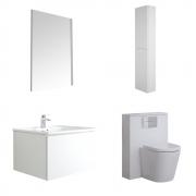Mueble de Baño de 600mm Color Blanco Opaco Completo con Cisterna, Inodoro con Lavabo, Armario de Pared y Espejo  - Newington