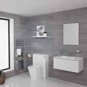 Mueble de Baño de 800mm Color Blanco Opaco con Inodoro y Lavabo Disponible con Opción LED - Newington