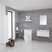 Mueble de Baño de 800mm Color Blanco Opaco Completo con Cisterna, Inodoro con Lavabo, Armario de Pared y Espejo Disponible con Opción LED - Newington