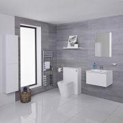 Mueble de Baño de 600mm Color Blanco Opaco Completo con Cisterna, Inodoro con Lavabo, Armario de Pared y Espejo Disponible con Opción LED - Newington