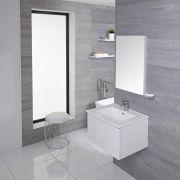 Mueble de Lavabo Mural Moderno de 600mm Color Blanco Opaco con Lavabo Integrado para Baño Disponible con Opción LED  - Newington