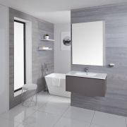 Mueble de Lavabo Mural Moderno de 800mm Color Gris Opaco con Lavabo Integrado para Baño Disponible con Opción LED- Newington
