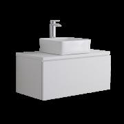Mueble de Lavabo Mural de 800mm de Color Blanco Opaco con Lavabo de Sobre Encimera Cuadrado para Baño - Newington
