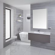 Mueble de Lavabo Mural Moderno de 1000mm Color Gris Opaco con Lavabo Integrado para Baño Disponible con Opción LED  - Newington