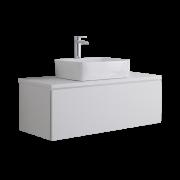 Mueble de Lavabo Mural de 1000mm de Color Blanco Opaco con Lavabo de Sobre Encimera Cuadrado para Baño - Newington