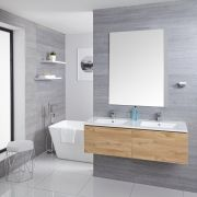 Mueble de Lavabo Mural Moderno de 1200mm Color Roble Dorado con Lavabo Doble Integrado para Baño - Newington