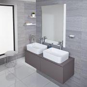 Mueble de Lavabo Mural Moderno de 1200mm Color Gris Opaco con Lavabo de Sobre Encimera Cuadrado Disponible con Opción LED - Newington