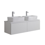 Mueble de Lavabo Mural Moderno de 1200mm Color Blanco Opaco con Lavabo de Sobre Encimera Cuadrado - Newington