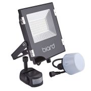 Biard Foco Proyector Plano Negro 30W con Opción entre Sensor PIR o Sensor Crepuscular