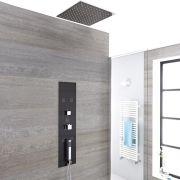 Panel de Ducha Empotrable Hidromasaje Minimalista Negro con Alcachofa de Ducha de Techo Empotrable de 400mm